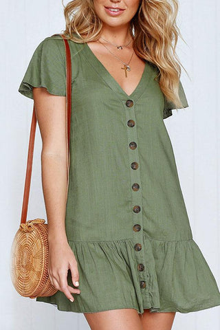 Sheinlove Short Sleeve Button Up Tunic Dress