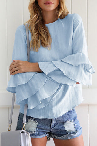 Sheinlove Long Sleeve Light Blue Casual Blouse