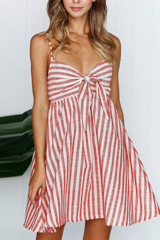 Sheinlove Vertical Stripe Tie Waist Cami Dress