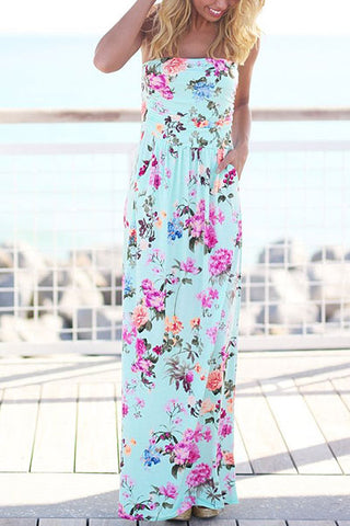 Sheinlove Printed Off-shoulder Casual Maxi Dress