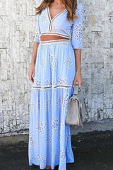 Sheinlove Another Day Blue Two-piece Dress