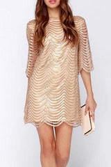 Sheinlove Round Neck Sequined Midi Dress