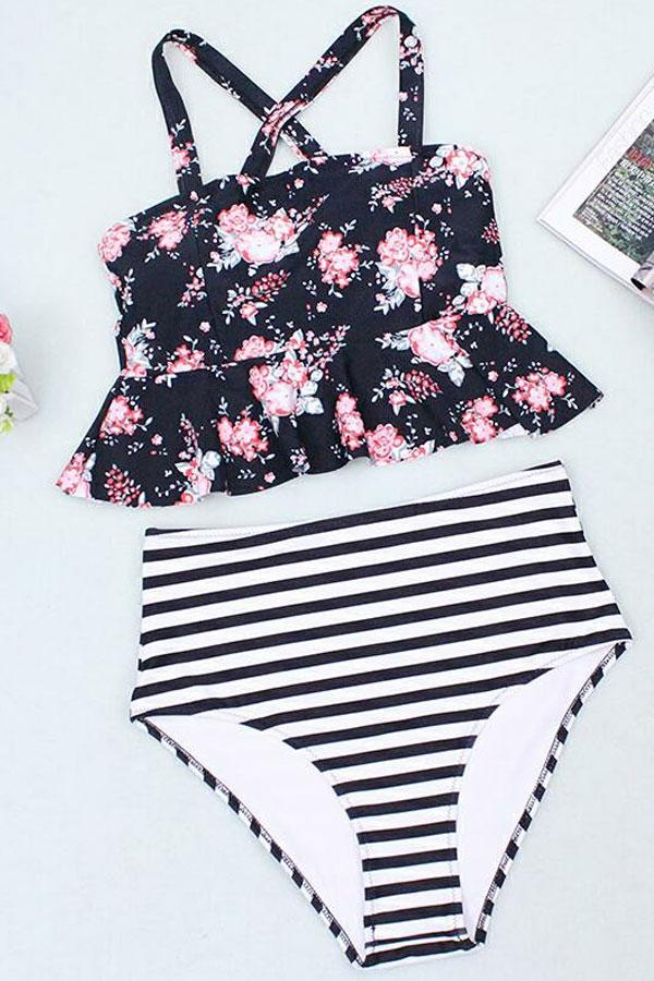 Sheinlove Life is Funny Printed Two Piece Swimwear