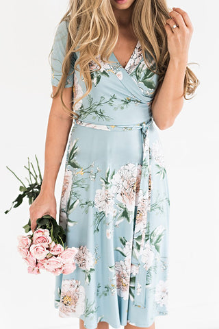 Sheinlove V Neck Flower Print Midi Wrap Dress