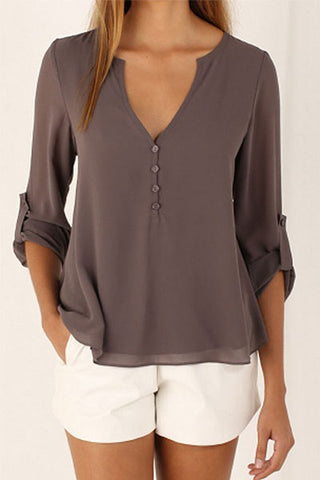 Sheinlove Long Sleeved Solid Loose Shirt
