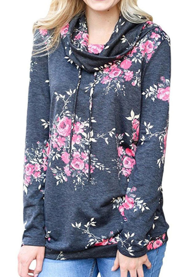 Sheinlove Floral Printing Casual Sweater Shirt