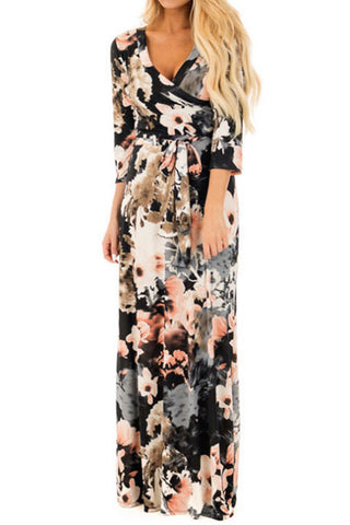 Sheinlove Flowering Prints V Neck Casual Maxi Dress