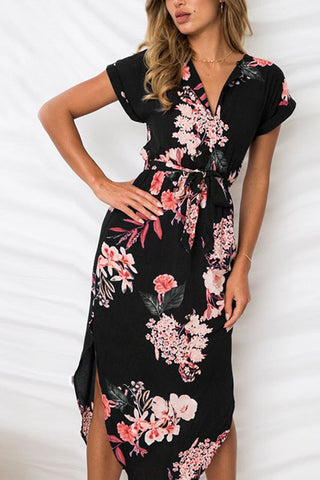 Sheinlove V Neck Flower Print Mid Dress