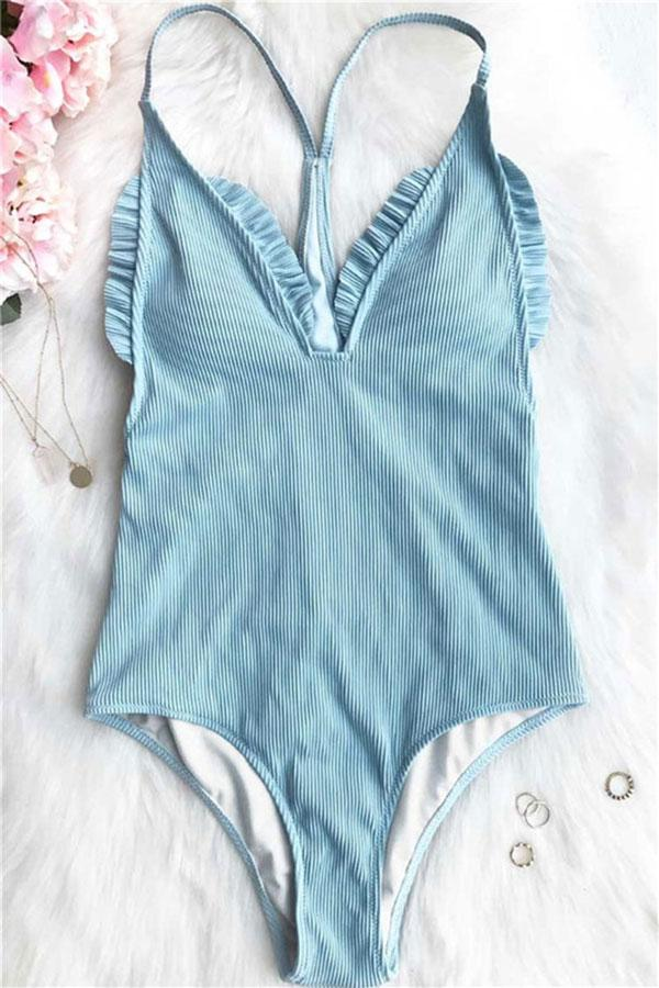 Sheinlove Enjoy Quietness Solid One Piece Swimwear
