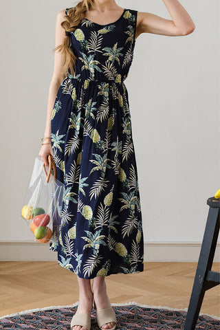 Sheinlove Pineapple Print Sleeveless Midi Dress