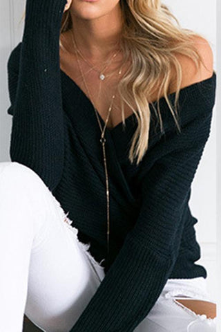 Sheinlove Cross V Neck Solid Sweatershirt