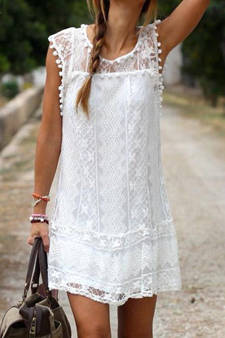 Sheinlove In Paradise Lace White Mini Dress