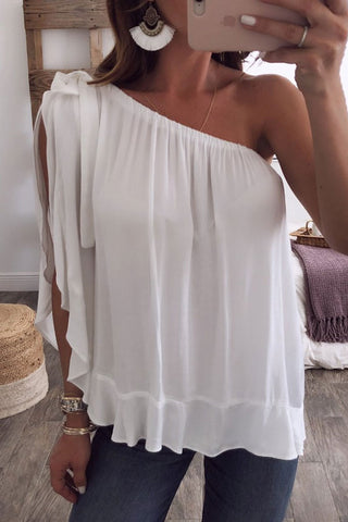 Sheinlove One Shoulder Flouncing White Blouse