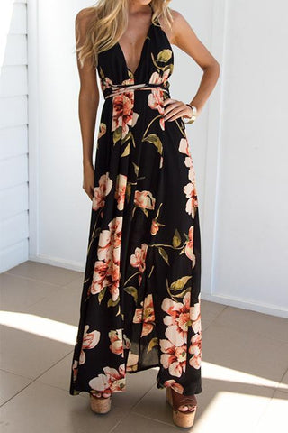 Sheinlove Printed Strappy Casual Maxi Dress
