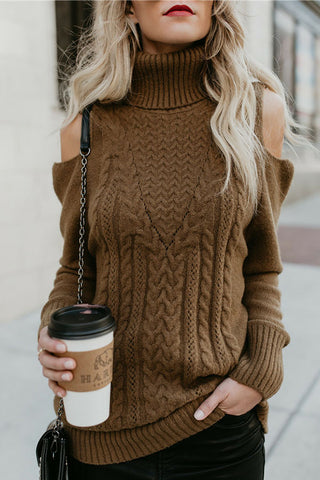 Sheinlove Cold Shoulder Solid Color Sweater