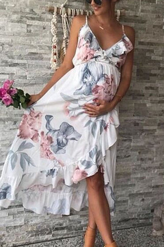 Sheinlove Irregular Hem V Neck Maternity Dress
