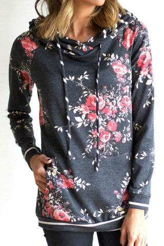 Sheinlove Floral Printing Casual Hoodies