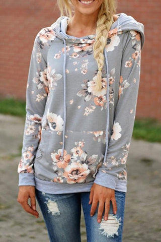 Sheinlove Flower Field Long Sleeves Casual Hoodies