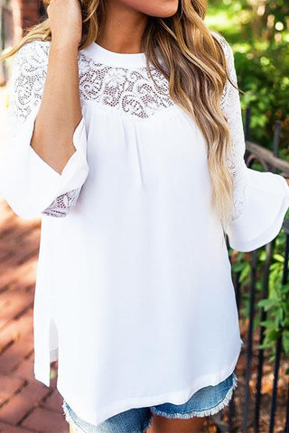 Sheinlove Lace Panel Long Sleeve Tunic Blouse