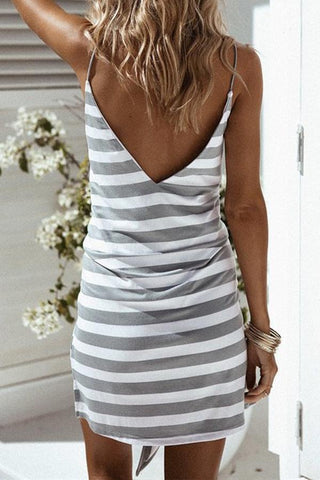 Sheinlove V-Neck Camisole Backless Striped Mini Dress