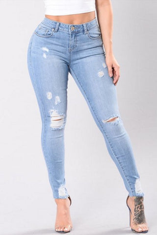 Sheinlove Frayed Hole Washed Style Jeans