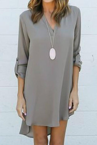 Sheinlove Solid Long Sleeved Casual Short Dress