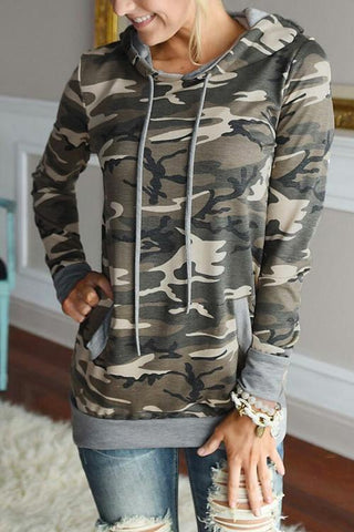Sheinlove Camouflge Long Sleeved Casual Hoodies
