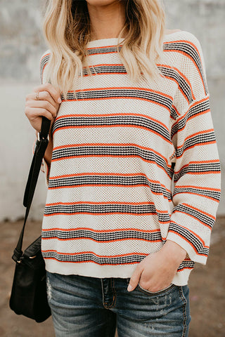 Sheinlove Striped Long Sleeve Casual Sweater