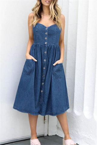 Sheinlove Button Up Denim Midi Dress