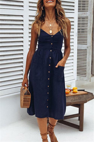 Sheinlove Button Up Cami Dress