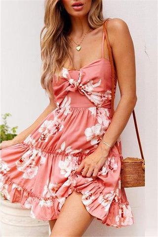 Sheinlove Printed Tie Front Cami Dress