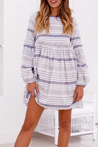 Sheinlove Striped Long Sleeves Mini Dress