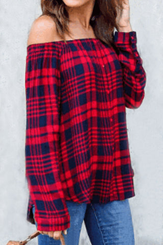 Sheinlove Off Shoulder Plaid Blouse