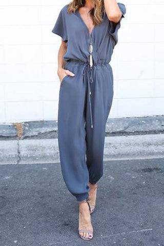Sheinlove Short Sleeved Loose Jumpsuit
