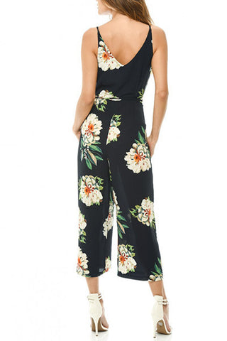 Sheinlove Strappy Floral Printing Loose Jumpsuit