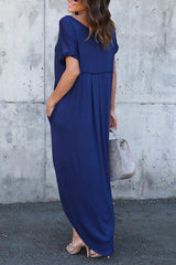 Sheinlove Double Slit V Neck Casual Maxi Dress