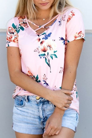 Sheinlove Short Sleeve Flower Print T Shirt