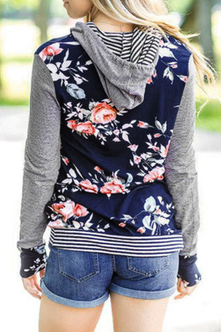 Sheinlove My Soul Floral Printing Casual Hoodies
