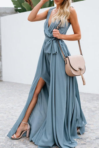 Sheinlove Solid Color Side Slit Maxi Dress