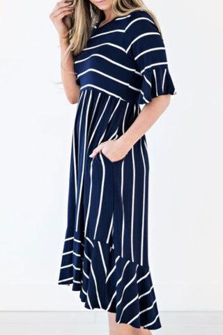 Sheinlove  Stripe Print Ruffled  Casual Dress