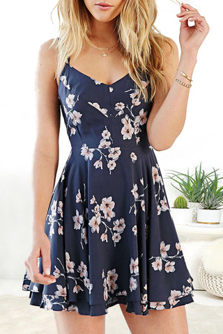 Sheinlove Flower Print Strappy Back Cami Dress