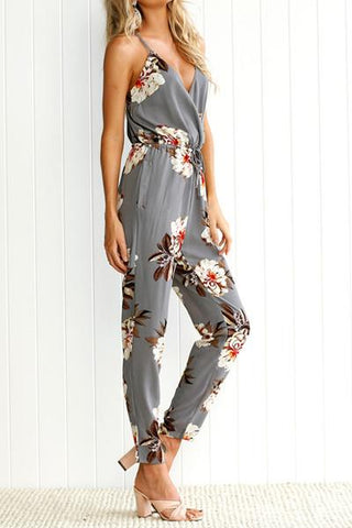Sheinlove Sleeveless Floral Printing Loose Jumpsuit