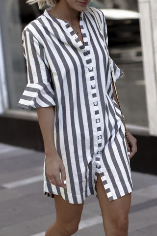 Sheinlove Half Sleeve Striped Blouse