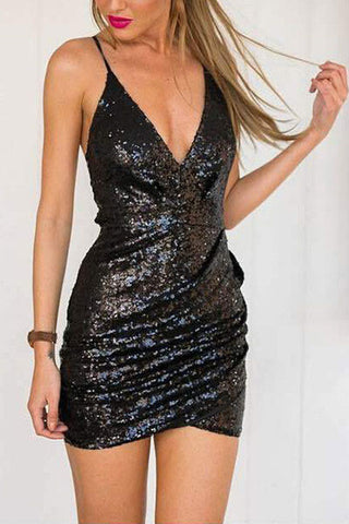 Sheinlove Sequined Strappy Mini Dress