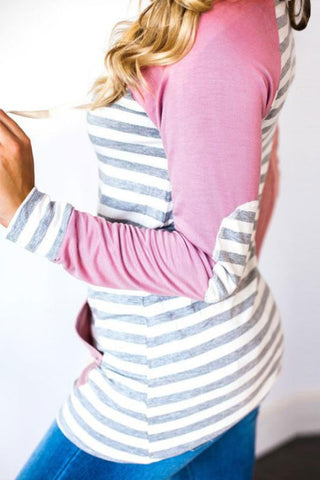 Sheinlove Leisure Striped Casual Hoodie