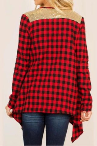 Sheinlove Plaid World Long Sleeves Casual Cardigan