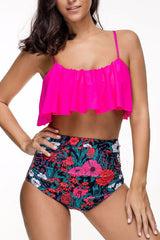 Sheinlove Ruffle Overlay Flower Print Two Piece Swimwear