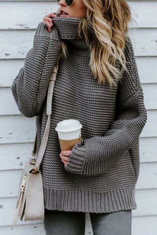 Sheinlove Solid Color High Collar Sweater