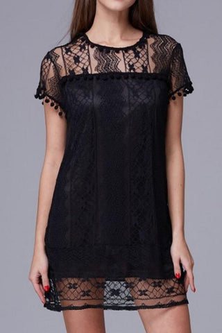 Sheinlove Solid Color Lace Tunic Dress