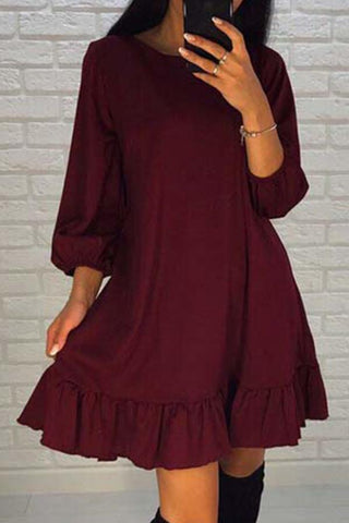 Sheinlove Solid Color Round Neck Mini Dress